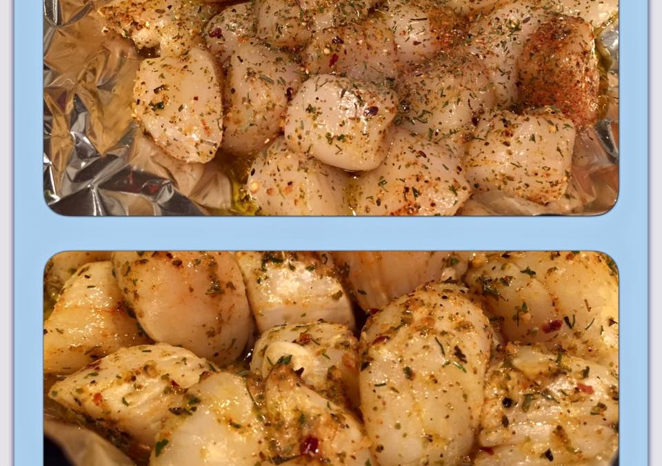 Scallops with Favorite Seasonings, Fresh Garlic and Olive Oil.